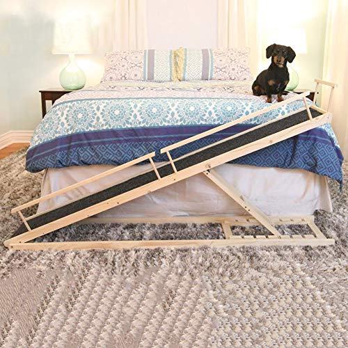 MDBT Dog Bed Ramps for Small Dogs Long Supports Cats and Dogs Up to 30 lbs Wood Pet Ramp for High Beds 59 in